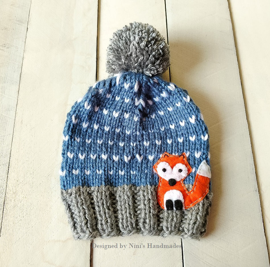 b063b79942e1 CHUNKY KNIT Denim Fair Isle FOX inspired Pom Pom Hat – Nini s Handmades