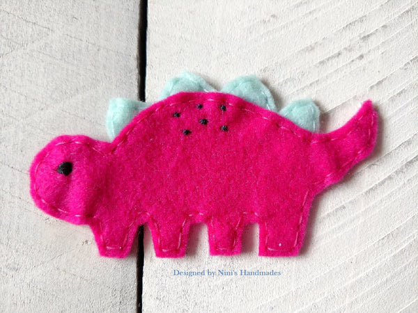 755ae7ef3e6a Kids Girls Fuchsia Pink and Mint Dinosaur Inspired Iron On Felt Applique