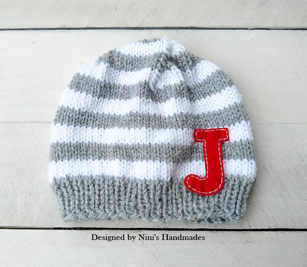 67dd11dbfda Personalized Striped Knit Beanie Hat with Initials