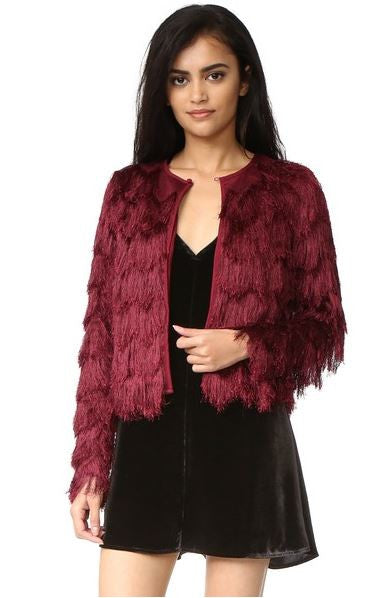 Serendipity Fringed Shag Jacket - Wine