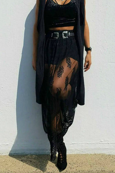 Black Lace Maxi Skirt With Shorts Skirt - Black