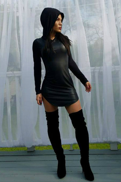 Black Ops Leather Front Hoodie Dress  - Black