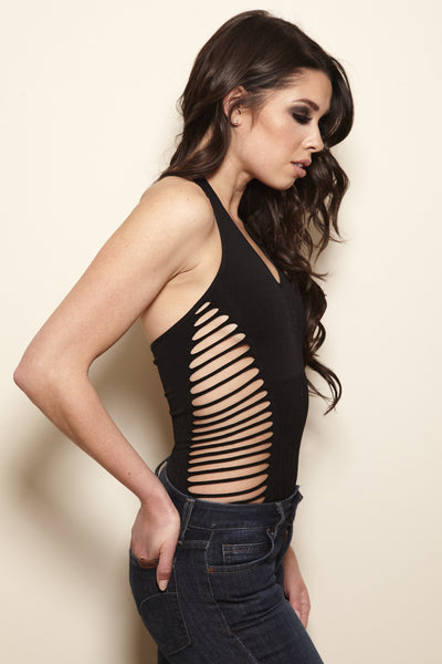 Slashed Side Halter Top - Black - Vixen Boutique