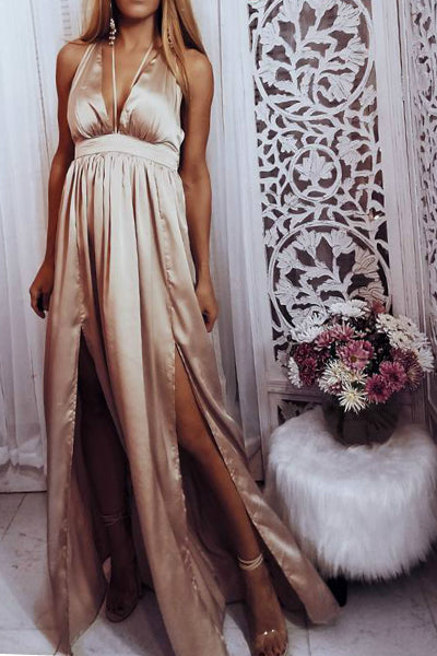 'Juliette' Satin Split Side Maxi Dress - Blush - Vixen Boutique