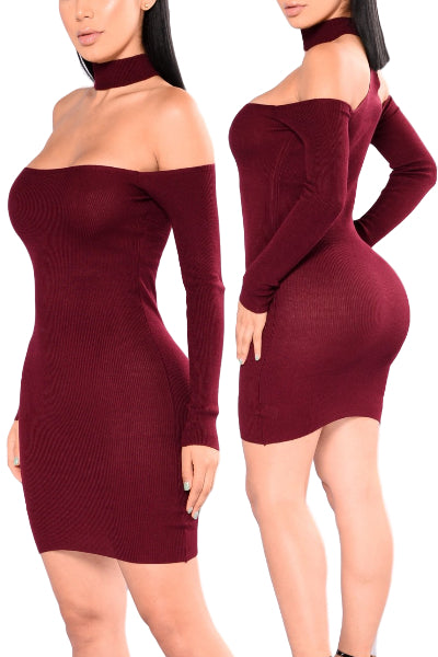 'Made For You' Long Sleeve Ribbed Choker Sweater Dress - Burgundy