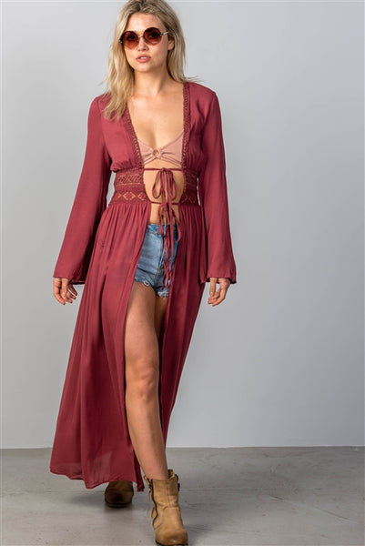 'Gypsy Soul' Boho Crochet Maxi Kimono/Cover-Up - Rust - Vixen Boutique