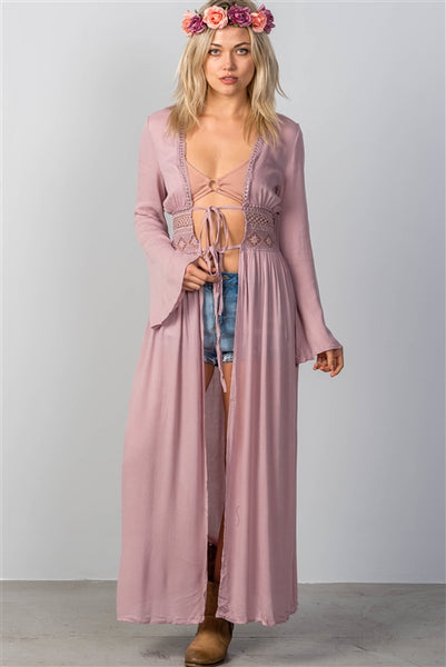 'Gypsy Soul' Boho Crochet Maxi Kimono/Cover-Up - Violet - Vixen Boutique