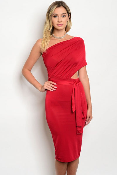 Red One Shoulder Wrap Bodycon Sexy Party Dress
