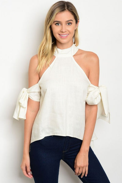 Bow Tie Sleeve Statement Sleeve Linen Top  - Ivory