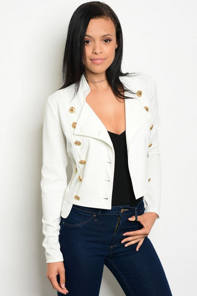 Gold Button Military Style Blazer - Off White