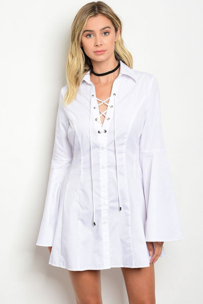 Oversized Boyfriend Style Collared Lace Up Shirt Dress - White