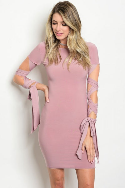Lace Up Sleeve Bodycon Dress - Mauve