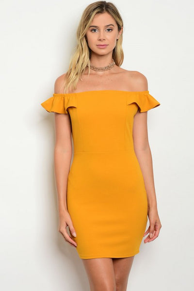 Ruffle Sleeve Off The Shoulder Bardot Bodycon Dress - Mustard Yellow