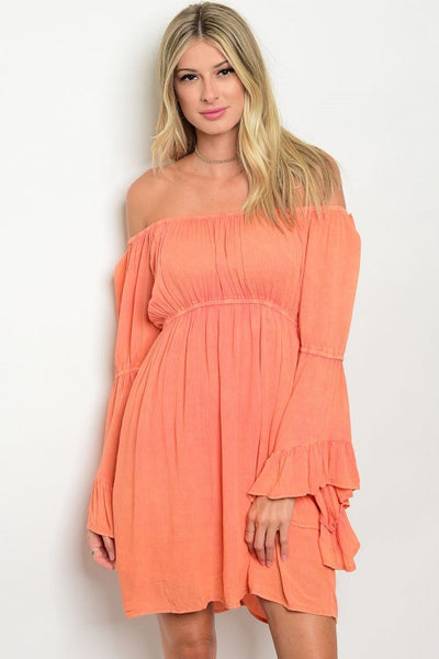 Off The Shoulder Long Bell Sleeve Boho Peasant Dress - Peach
