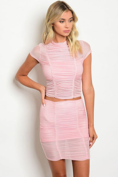 'Pretty In Pink' Ruched Mesh Top and Skirt Set - Pink - Vixen Boutique