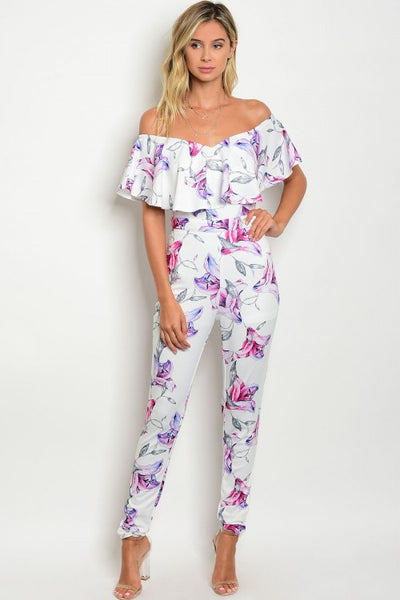 Floral Off The Shoulder Bardot Jumpsuit - Multi