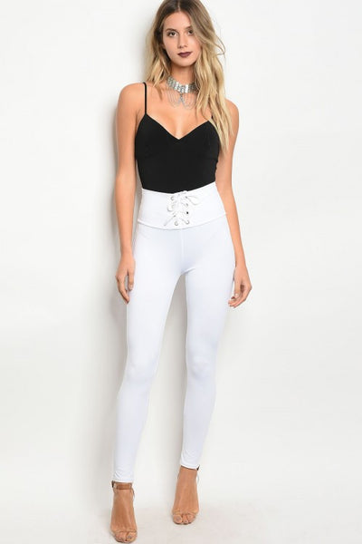 Lace Up Corset Leggings - White