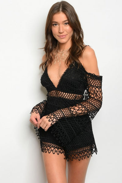 'Shayla' Crochet Netted Cold Shoulder Romper - Black - Vixen Boutique