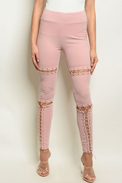 'Selena' Suede Lace Up Leggings  - Pink
