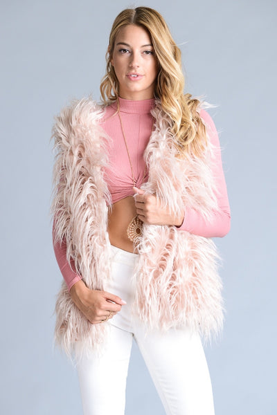 Faux Fur Vest - Blush - Vixen Boutique