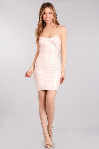 Wet Look Latex Strapless Bodycon Dress - Light Pink