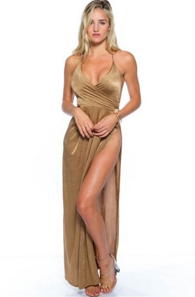 Golden Girl Side Split Maxi Dress - Copper Gold