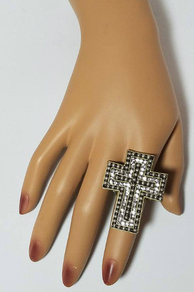 Bronze Rhinestone Cross Statement Ring