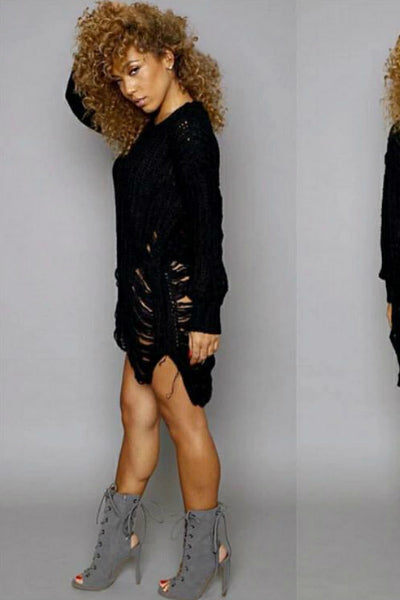 Slashed Distressed Oversized Sweater Jumper Dress - Black