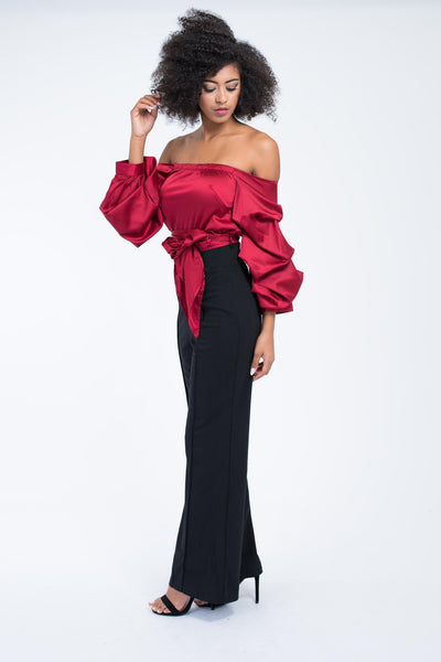 Off The Shoulder Ruffle Sleeve Satin Tie Waist Blouse (Red)