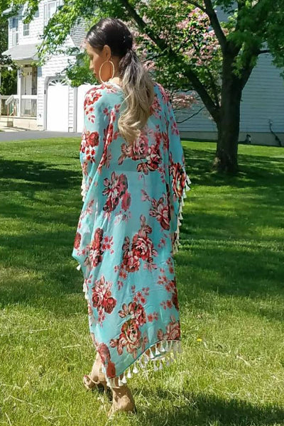 'Garden Party' Floral Kimono - Mint - Vixen Boutique