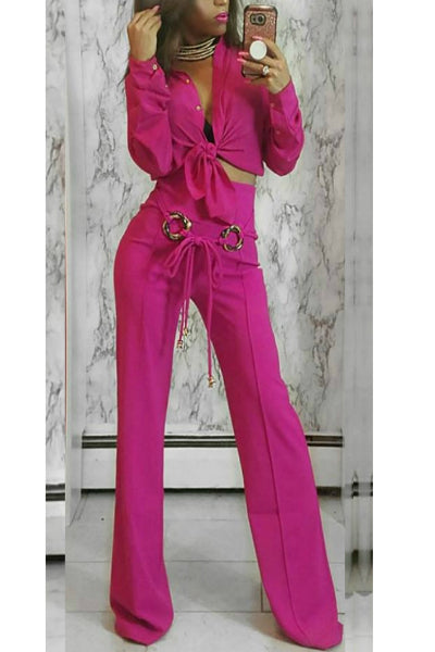 High Waist Hot Pink Fuschia Flare Leg Pants | Style Loft