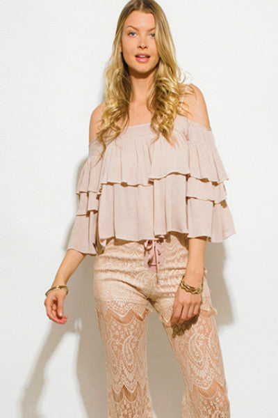 Tiered Ruffled Cold Shoulder Flutter Sleeve Boho Blouse - Taupe