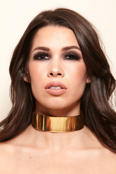 All Choked Up Wide Metal Choker - Gold - Vixen Boutique