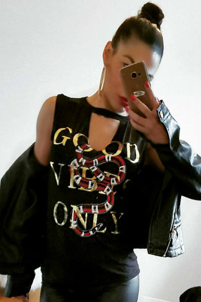 "Designer Inspired Snake Print "" Good Vibes Only"" Graphic Tee - Black - Vixen Boutique"