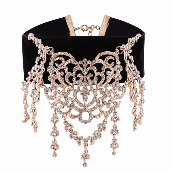 Luxury Waterfall Rhinestone Choker - Gold
