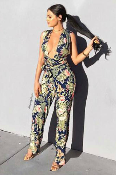 'Hot Tropics' Jumpsuit - Multi - Vixen Boutique