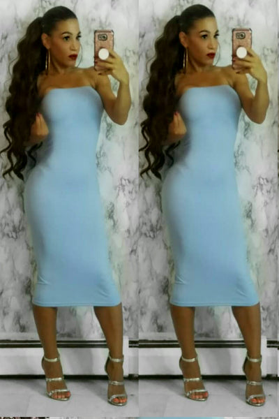 Baby Light Blue Seamless Stretch Knit Strapless Midi Tube Dress