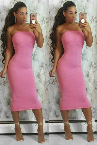 'It Girl' Stretch Knit Strapless Tube Dress - Rose Pink