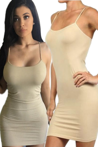 Solid Seamless Cami Tank Dress - Wheat