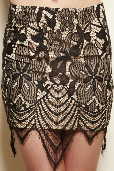 Stardust Lace Pointed Hem Skirt - Black / Nude - Vixen Boutique