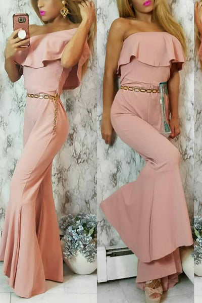 'Layla' Strapless Flare Bell Bottom Romper - Mauve - Vixen Boutique
