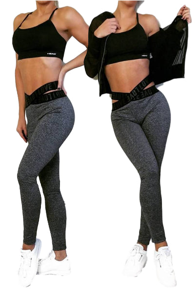 Love Crossband Waist Activewear Work Out Leggings - Gray or Burgundy