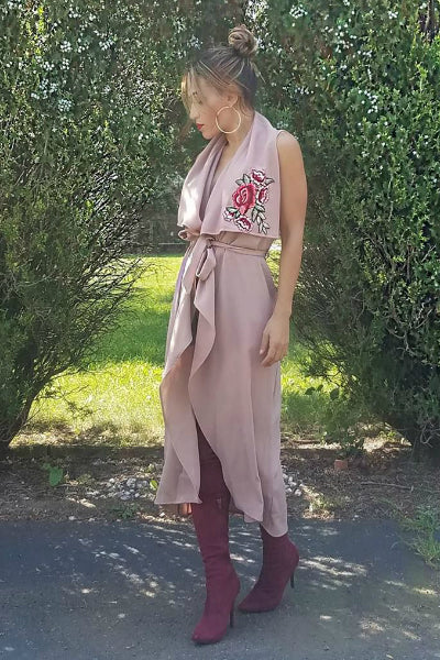 'Love You Madly' Sleeveless Duster - Mauve