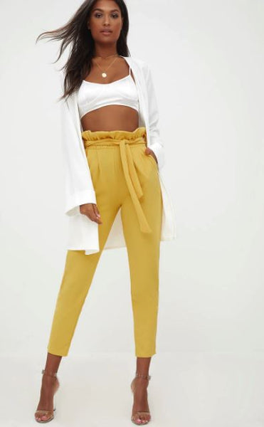 Mustard Yellow Paperbag Belted Cigarette Trousers | Style Loft