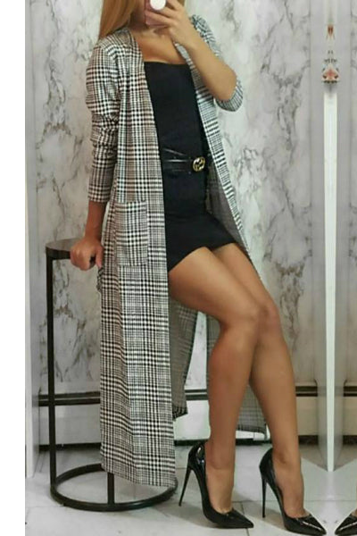 Black and White Longline Open Front Plaid Duster Cardigan | Style Loft