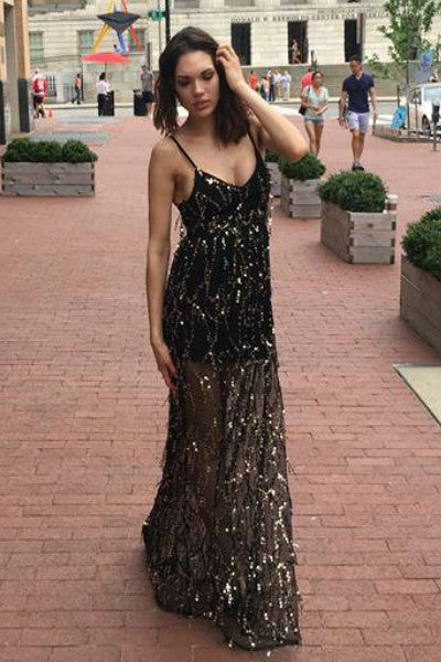Formal Sheer Sequin Sleeveless Gown  - Black / Gold