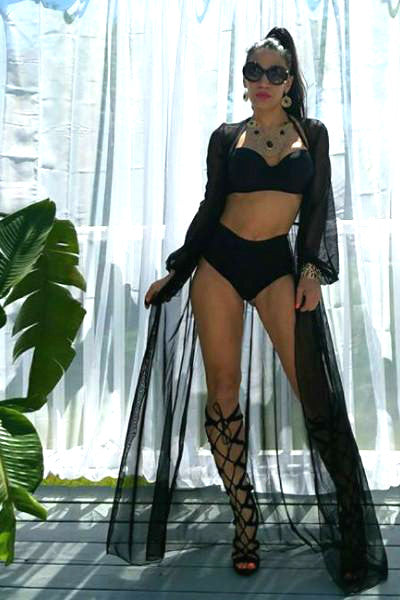 'I Got This' Long Sheer Mesh Duster Cover Up - Black