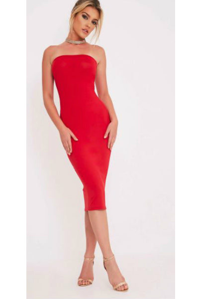 'It Girl' Seamless Stretch Knit Strapless Tube Dress - Red - Vixen Boutique