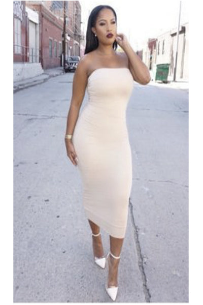 'It Girl' Seamless Stretch Knit Strapless Tube Dress - Stone - Vixen Boutique