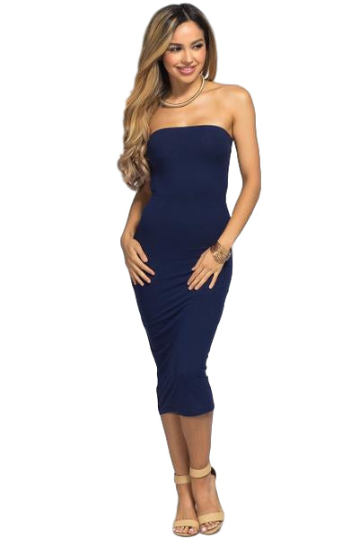 'It Girl' Seamless Stretch Knit Strapless Tube Dress - Navy - Vixen Boutique